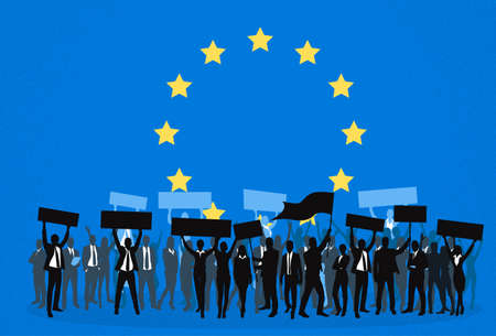 demonstrator: Protest People Crowd Silhouette Over European Union Europe Flag, Man Holding Flag Banner Vector Illustration
