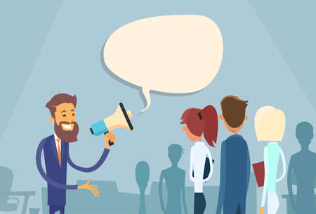 work group: Businessman Boss Hold Megaphone Loudspeaker Colleagues Business People Team Group Working Office Flat Vector Illustration
