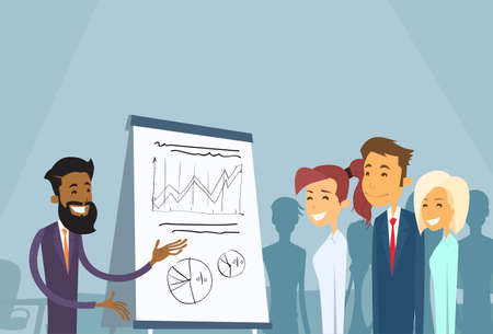 seminar: Business People Meeting Seminar Training Conference Businesspeople Group Brainstorming Presentation Financial Chart Flat Vector Illustration