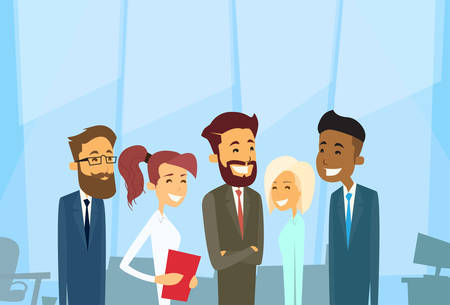 diverse business team: Business People Group Diverse Team Businesspeople Office Vector Illustration
