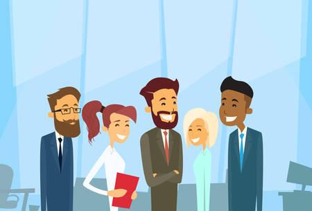 razas de personas: Los hombres de negocios Grupo de empresarios diversas del vector ilustración de la oficina Vectores