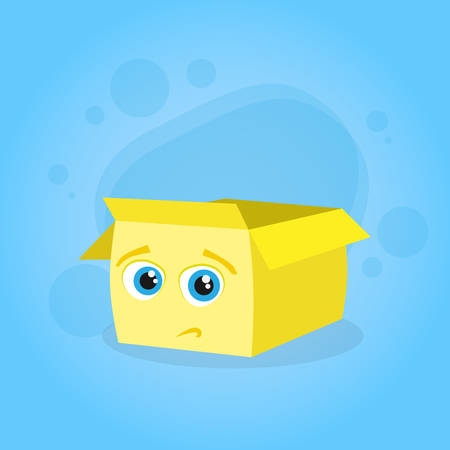 doubtful: Yellow Cardboard Box Confused Doubtful Cartoon Character Emotion Face Concept Flat Vector Illustration Illustration