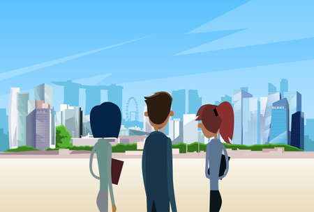 Business People Team Singapore City View Skyscraper Businesspeople Over Background Skyline Cityscape Flat Vector Illustration