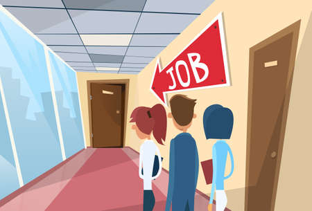 gente cola: Business People Line Searching for Job Interview Candidate Office Room Doors Corridor Hallway Flat Vector Illustration