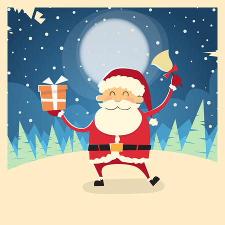 snow forest: Santa Claus Hold Bell Present Gift Box Winter Snow Forest Christmas Holiday Flat Vector Illustration