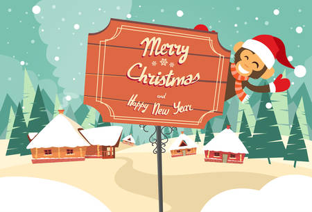 snow forest: Marry Christmas Happy New Year Road Sign Monkey Happy Smile Wearing Santa Hat Winter House Snow Forest Flat Vector Illustration