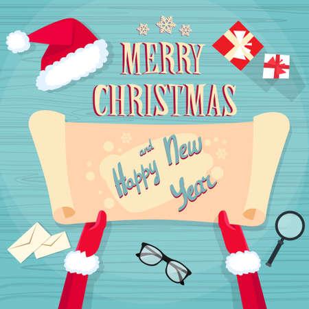 wish list: Santa Claus Hands Scroll Old Paper Merry Christmas Wish List Office Desk Flat Vector Illustration Illustration