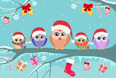 Christmas Owl Sitting on Tree Branch Decoration Gift Box Winter Flat Vector Illustration