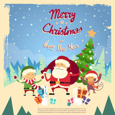 clause: Santa Clause Elf Monkey Cartoon Character Winter Tree Snow Forest Card Poster Merry Christmas Happy New Year Flat Vector Illustration