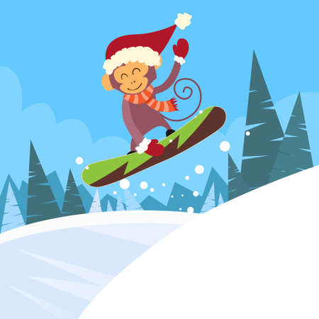 sliding: Monkey Snowboarder Sliding Down Hill, Winter Banner Snowboarding Snow Mountains Slopes Happy New Year Card Flat Vector Illustration