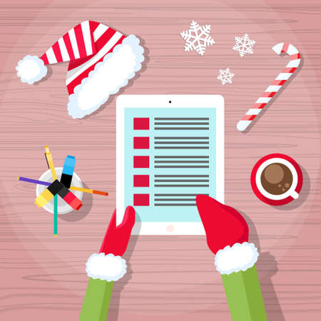 elf cartoon: Christmas Check Present Wish List Santa Clause Helper Elf Hand Writing Pen Desk Flat Vector Illustration Illustration