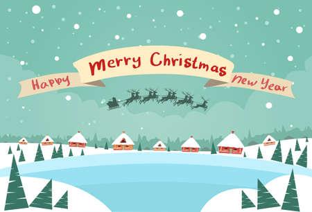renna: Buon Natale e Felice Anno Nuovo Banner Babbo Natale in slitta renne volare Cielo sopra illustrazione Casa Natale Capodanno Snow Card piatto vettore