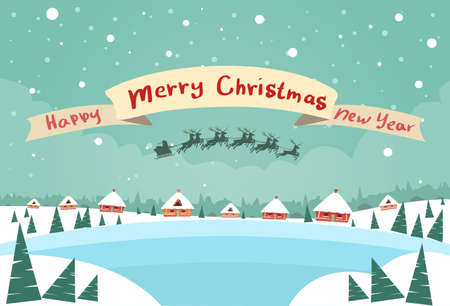 papa noel en trineo: Feliz Navidad y Feliz A�o Nuevo Banner trineo de Pap� Noel del reno Fly Cielo sobre la ilustraci�n de Casa de Navidad A�o Nuevo Tarjeta de nieve plana vectorial
