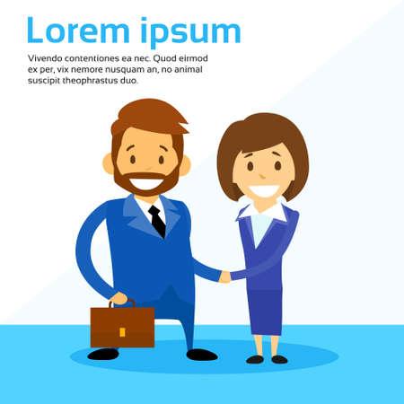 contract: Business Man and Woman Handshake Contract Communication, Businessman Businesswoman Hand Shake Flat Vector Illustration