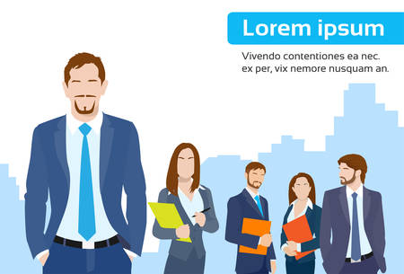 female boss: Businessmen Leader Boss with Group of Business People Team Flat Vector Illustration