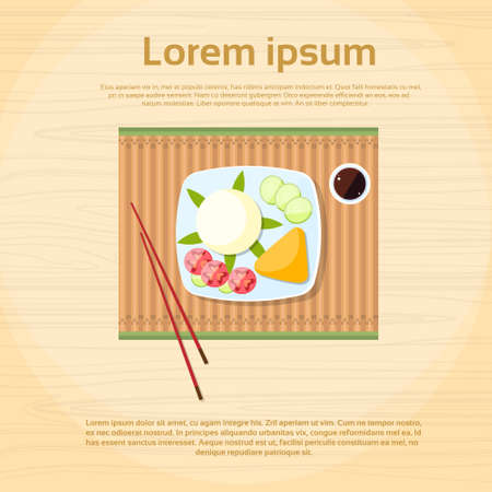 chop sticks: Asian Rice Plate Food Top View Flat Vector Illustration