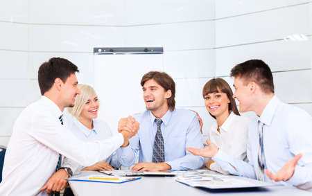 team work: businesspeople group smile working office, business people