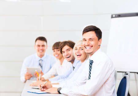 board room: businesspeople group smile working office, business people
