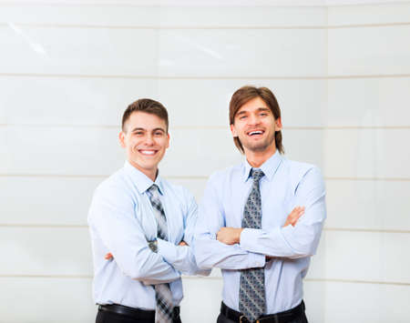 businessman standing: businesspeople group smile working office, business people
