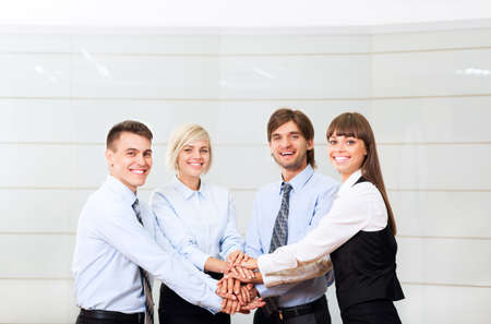 business leadership: businesspeople group smile working office, business people