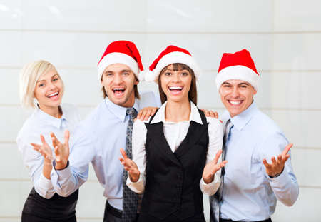 christmas holiday: businesspeople group smile working office, business people