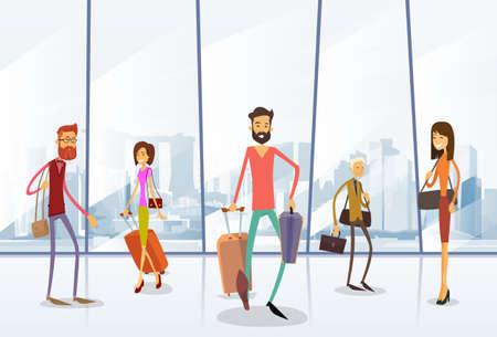 travel bag: Traveler People Airport Hall Departure Terminal Travel Baggage Bag Suitcase, Passenger Check In Luggage Flat Vector Illustration Illustration