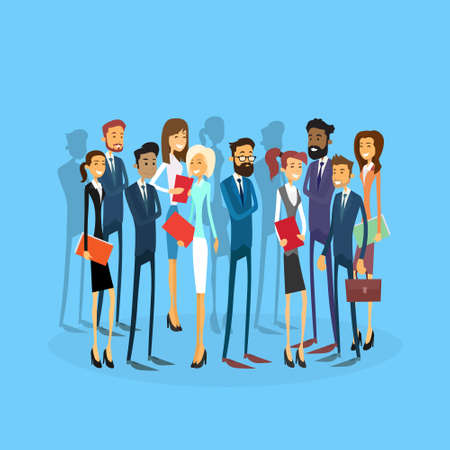 colleague: Business People Group Team Businesspeople Flat Vector Illustration