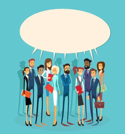 통신: 비즈니스 사람들이 그룹 채팅 통신 버블 개념, 기업인 통신 소셜 네트워크 평면 벡터 일러스트 레이 션을 토론 이야기 일러스트
