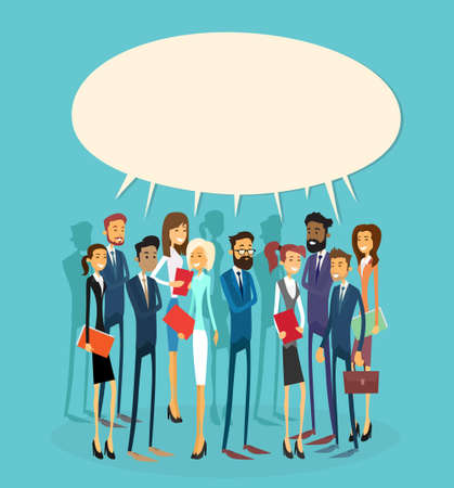 communication icons: Business People Group Chat Communication Bubble Concept, Businesspeople Talking Discussing Communication Social Network Flat Vector Illustration Illustration