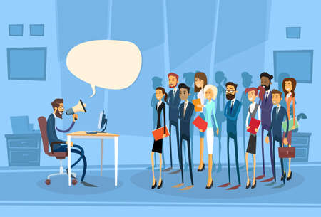 boss cartoon: Businessman Boss Hold Megaphone Loudspeaker Colleagues Business People Team Leader Group Businesspeople Chat Discussing Working Office Flat Vector Illustration