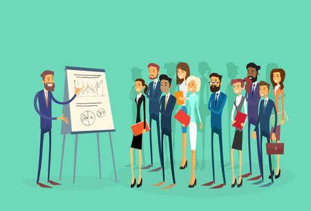 utbildning: Business People Group Presentation Flip diagram finans, Näringsliv teamträning Conference Meeting Flat vektorillustration