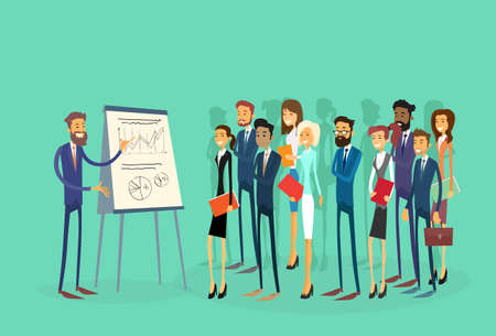 Business People Group Presentation Flip Chart Finance, Businesspeople Team Training Conference Meeting Flat Vector Illustration Vettoriali
