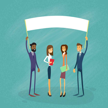 a group of people protesting: Businessmen Show White Board, Signboard, Empty Copy Space, Business People Cartoon  Hold Placard Sign Board Blank Flat Vector Illustration Illustration