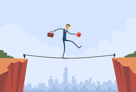 balance: Businessman Walk Over Cliff Gap Mountain Business Man Balancing Wooden Stick Bridge Flat Vector Illustration Illustration