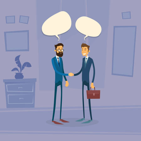chat box: Two Businessman Hand Shake Talking Chat Box Bubble Communication Concept, Business Man Handshake Office Retro Flat Vector Illustration