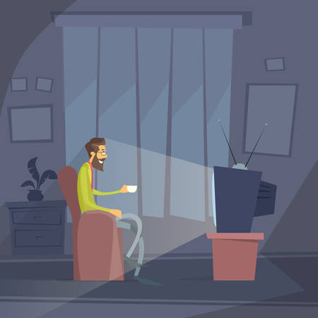 office chair: Man Sitting Watching Tv Home Chair Drink Coffee Night Flat Vector Illustration Illustration