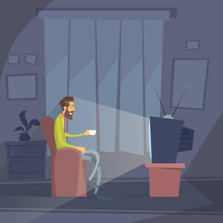 chair cartoon: Man Sitting Watching Tv Home Chair Drink Coffee Night Flat Vector Illustration Illustration