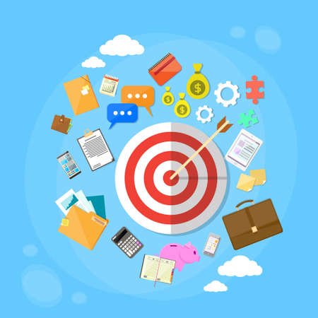 smart goals: Target Arrow Get Aim Concept Web Marketing Application Flat Icon Set Vector Illustration Illustration