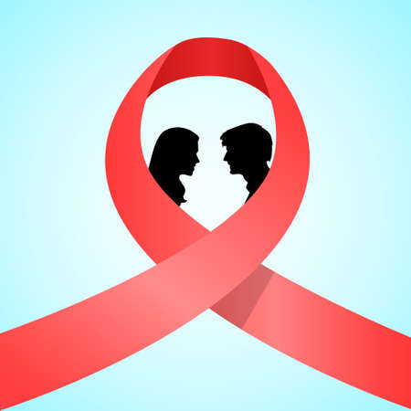 sexual health: World AIDS Day Awareness Red Ribbon Concept Love Couple Kissing Men and Woman Black Silhouettes Vector Illustration Illustration
