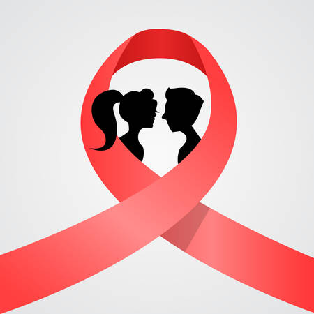 sick girl: Giornata mondiale contro l'AIDS Awareness Red Ribbon Concetto Amore Coppia uomini che si baciano e cartoon donna Silhouettes illustrazione vettoriale Vettoriali