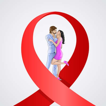 virus sida: World AIDS Day Awareness Red Ribbon Concept Love Couple Kissing Men and Woman Vector Illustration
