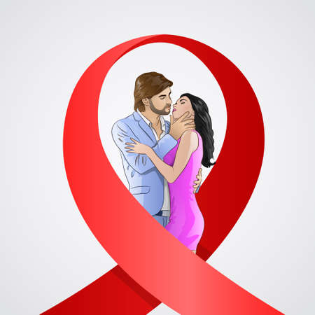 aids virus: World AIDS Day Awareness Red Ribbon Concept Love Couple Kissing Men and Woman Vector Illustration