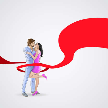 hiv awareness: World AIDS Day Awareness Red Ribbon Concept Love Couple Kissing Men and Woman Vector Illustration