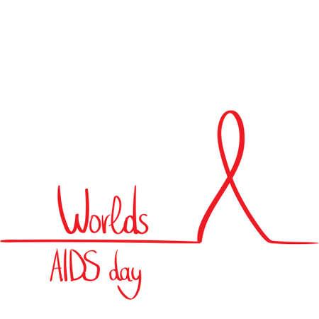 hiv awareness: World AIDS Day Awareness Red Ribbon Concept Outline Minimal Design Flat Vector Illustration