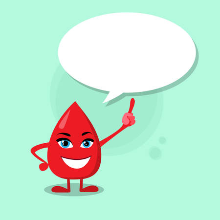 aids virus: Blood Drop Cartoon Character Point Finger Chat Box Bubble Happy Smile Flat Vector Illustration