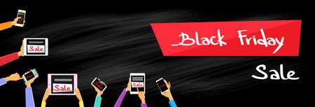 smart phone hand: Hand Tablet Computer Smart Phone Black Friday Digital Device Electronic Sale Web Banner Flat Vector Illustration