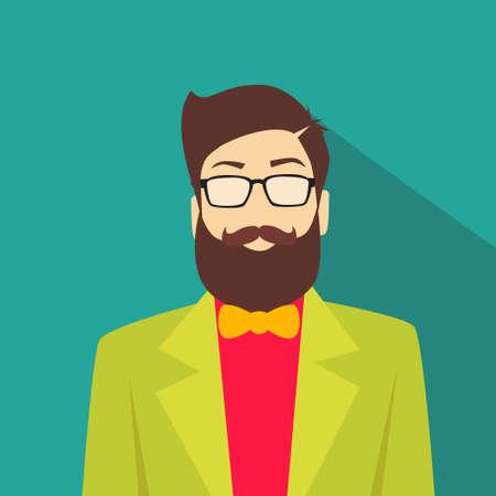 profil: Ikona profilu Mężczyzna Avatar Man Hipster Fashion Style Cartoon Guy Beard Okulary dorywczo Osoba sylwetka twarz płaska Ilustracja Ilustracja