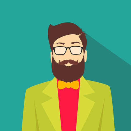geek: Profile Icon Male Avatar Man Hipster Style Fashion Cartoon Guy Beard Glasses Portrait Casual Person Silhouette Face Flat Design Illustration