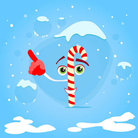 candy stick: Christmas Candy Stick Point Finger Up Corner Copy Space Advertise Cartoon Character Concept Blue Snow Background Flat Illustration Illustration