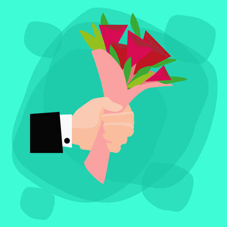 ramo de flores: Hand Hold Bouquet Flowers Red Rose Flat Illustration Vectores